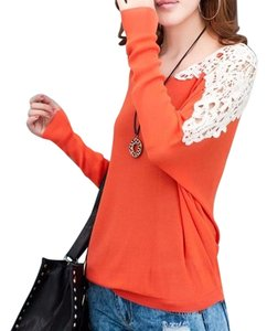 Other P2284 Size Medium Long Sleeves Top orange and ivory
