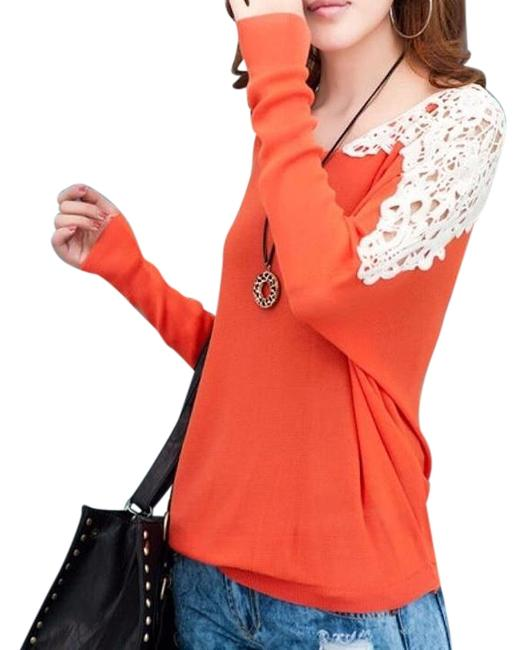 Preload https://img-static.tradesy.com/item/20063460/orange-and-ivory-new-knit-medium-long-sleeves-p2284-blouse-size-8-m-0-1-650-650.jpg