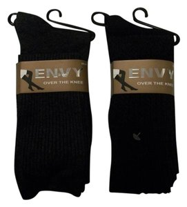 Envy Two Pairs: Gray, Black Above The Knee Socks Size 9-11