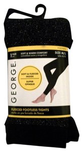 George One Pair Shimmering Black Footless Fleeced Tights Size M/L