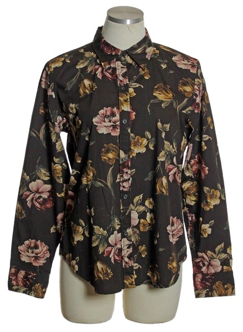 Chaps brown 100 cotton floral long sleeve blouse button for Chaps button down shirts