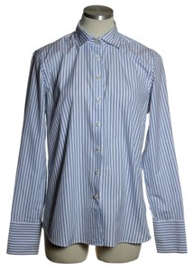 Lands' End Button Down Shirt Blue White