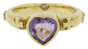 Ladies 18k Solid Yellow Gold Amethyst Heart Band Cocktail Ring