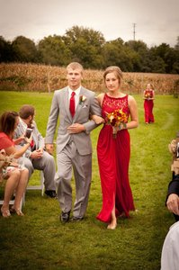 David's Bridal Apple Red F15749 Dress