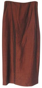 Anne Klein Long Linen Side Split Maxi Skirt Mahogany Red