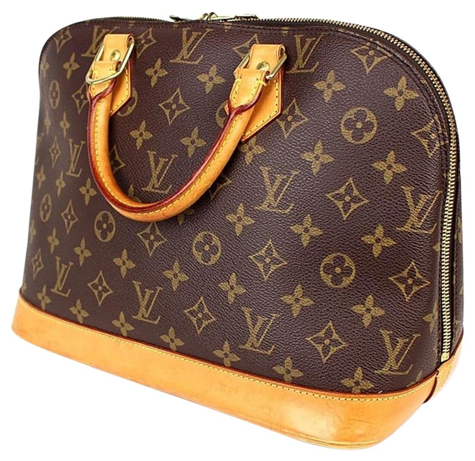 60ce847310da Louis Vuitton Alma Lv Pm with Lv Dustbag Padlock and Key Brown Monogram  Canvas Natural Cowhide Leather Tote