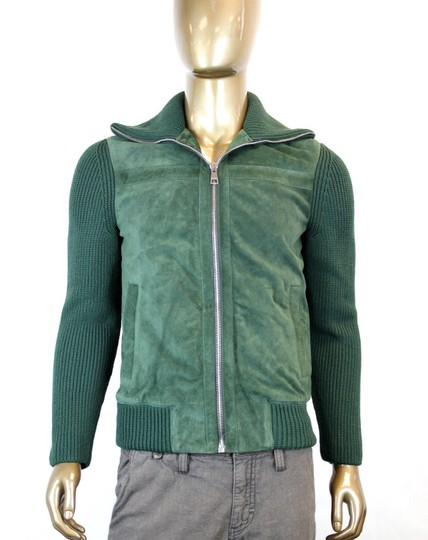 Gucci Green W New Men's Bottle Suede Bomber W/Knit Sleeves Eu 50/ Us 40 323270 3100 Groomsman Gift Image 1
