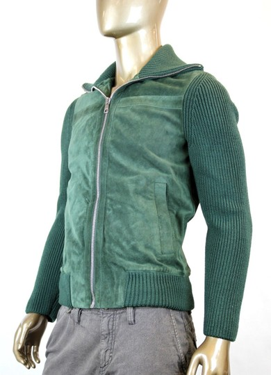 Gucci Green W New Men's Bottle Suede Bomber W/Knit Sleeves Eu 50/ Us 40 323270 3100 Groomsman Gift Image 3