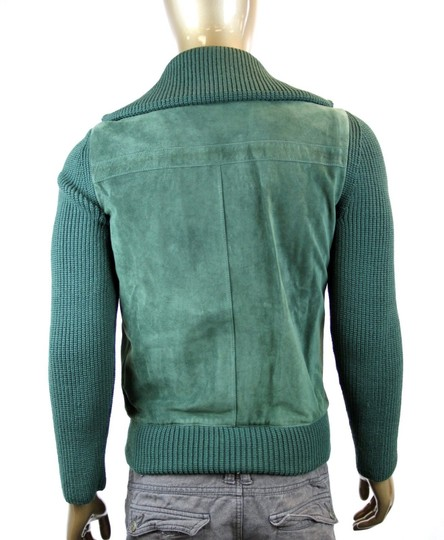 Gucci Green W New Men's Bottle Suede Bomber W/Knit Sleeves Eu 50/ Us 40 323270 3100 Groomsman Gift Image 4