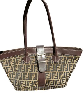 Fendi Leather Monogram Buckle Tote in Brown