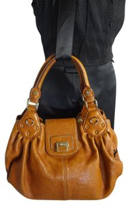 Antonio Melani Clean Genuine Leather Satchel in SADDLE BROWN