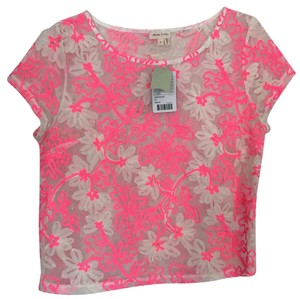 Anthropologie Top Pink and white