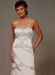 Liancarlo 2854 Silk Satin Embroidered White Slim Strapless Liancarlo Wedding Dress