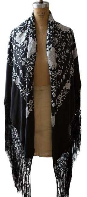 Item - Black & White Hand Embroidered Spanish Silk Shawl Scarf/Wrap