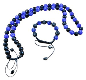 Blue Shamballa Necklace & Bracelet Mens/Women