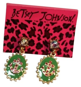 Betsey Johnson Betsey Johnson Anchor Earrings Green