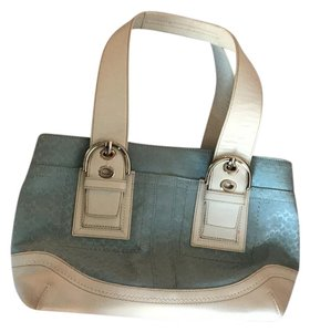 Coach Satchel in Blue and White