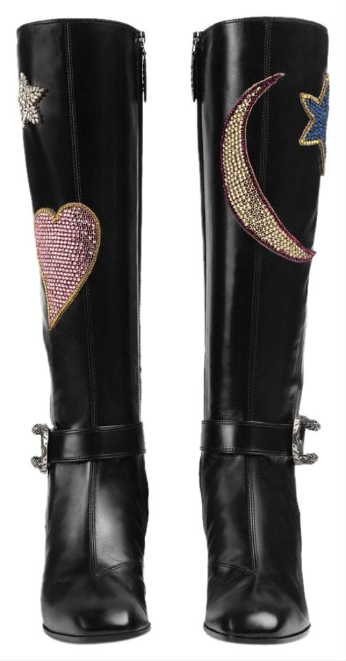 f6c167db85a09 Gucci Black Dionysus Embroidered Knee Nero Boots/Booties Size EU 39.5  (Approx. US 9.5) Regular (M, B) 36% off retail