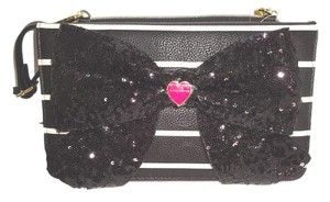 Betsey Johnson Black Triple Entry Cross Body Bag