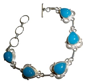 Silver Co. Antiqued Blue Agate Silver Bracelet