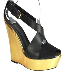 Giambattista Valli Ankle Strap Wedge Sandals Size 38.5 Black Gold Pumps