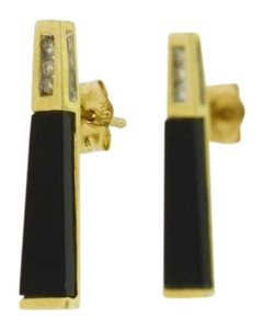 Other Long Thin Black Onyx Diamond Earrings in 10kt Yellow Gold
