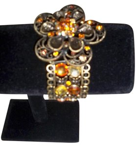 Silver Co. Orange Crystals Bronze Flower Stretch Bracelet
