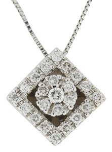Other Square Shaped Diamond Necklace - 14k White Gold - Diamond Jewelry