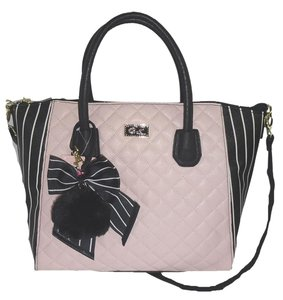 Betsey Johnson Quilted Diamonds Top Zip Closure Luv Betsey Satchel in BLUSH