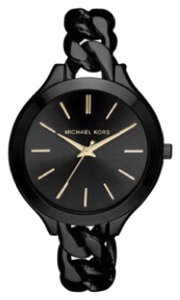 Michael Kors NWT MICHAEL KORS Slim Runway Black Stainless Steel Watch MK3221