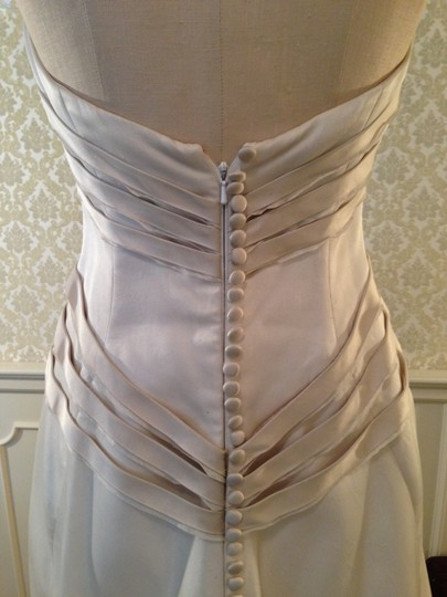 Rivini White Champange Silk Satin Sienna Aline Duchess Bands Retro Wedding Dress Size 8 (M) Image 11