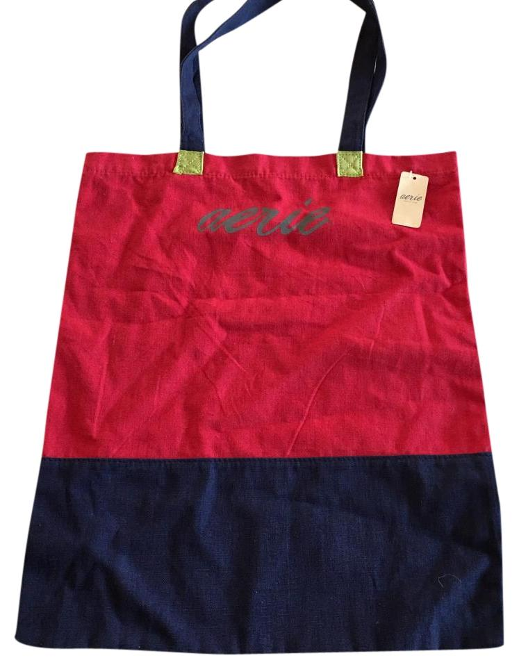 Aerie Tote In Red And Navy