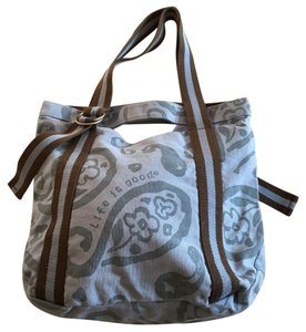 Life is Good Tote in Brown And Blue