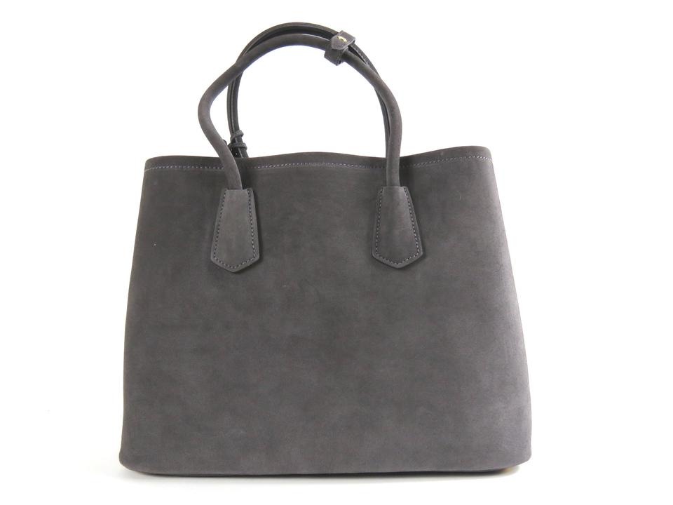 08f1f8158a74 Prada Suede Scamosciato Shopping Ematite B2756t Grey Leather Tote ...