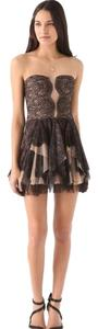 BCBGMAXAZRIA Vintage Lace Mesh Scalloped Dress