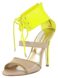 bebe High Heel Leather Heels Tan, Yellow Sandals