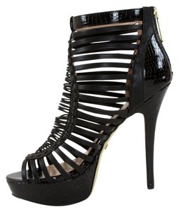 bebe Leather Open Black Platforms