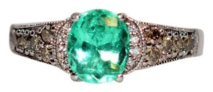 LeVian LeVian 2tcw Colombian Emerald & Diamond 14kt White Gold Ring