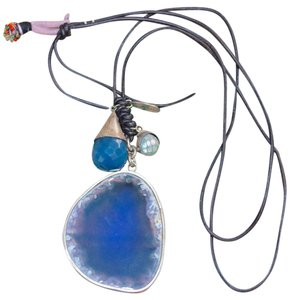 Chan Luu AGATE SLICE GEMSTONE STERLING SILVER PENDANT LEATHER LAYERING NECKLACE