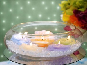6 Used Floating Candle Bowl For Centerpiece