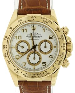 Rolex Rolex Daytona Zenith 16518 18k Gold White Leather Chrono Watch