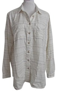 BDG Urban Outfitters Flannel Shirt Striped Small Button Down Shirt Off White, Multi-Stripes
