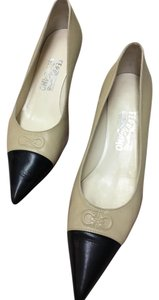 Salvatore Ferragamo Pointed Nude Two Classic New Bisque with black toe Pumps