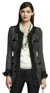 White House | Black Market Whbm Tweed Window Pane Chain Black and White Blazer