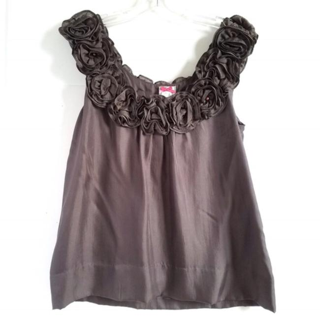 Yoana Baraschi Anthropologie Silk Floral Top Grey Image 0