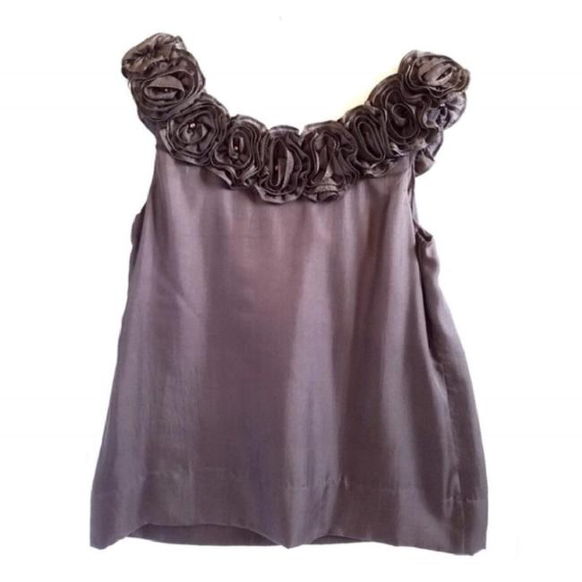 Yoana Baraschi Anthropologie Silk Floral Top Grey Image 1
