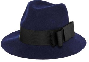 Kate Spade Kate Spade Grosgrain Bow Tab Wool Fedora Navy Black Bow Hat