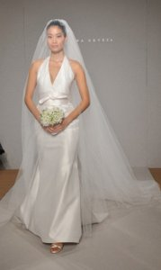 Romona Keveza L910 Silk Shantung Taffeta White Halter Sexy Sz 6/8 Wedding Dress