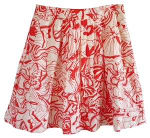 Anthropologie Fei Butterfly A-line Skirt Red/Orange and White