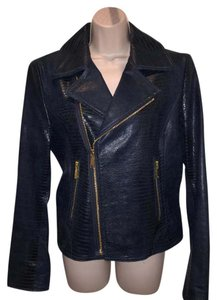 Elie Tahari Tahari Moto Leather Gold Motorcycle Jacket